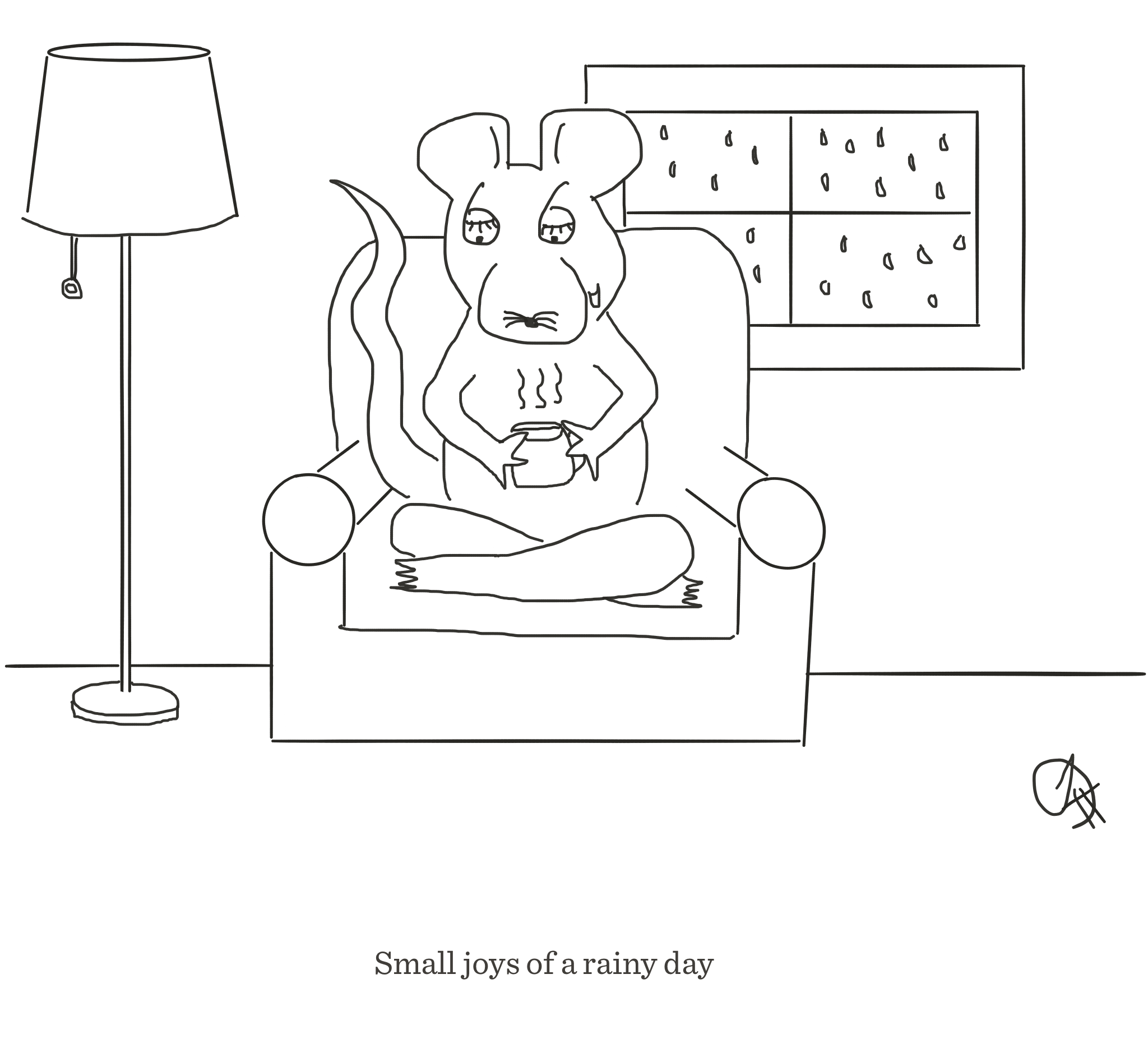 The joys of a rainy day, The Happy Rat cartoon