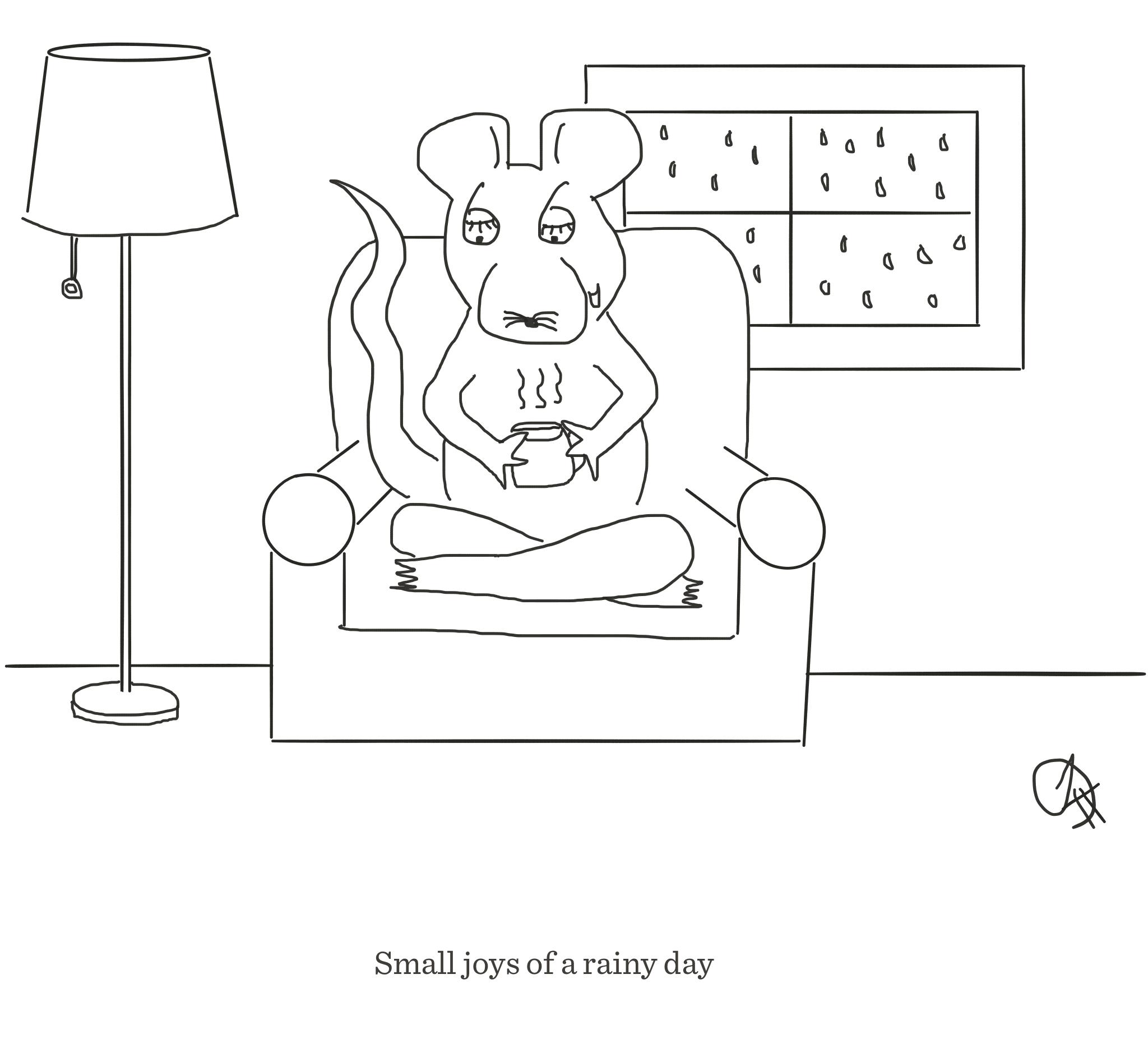 The joys of a rainy day, The Happy Rat cartoon