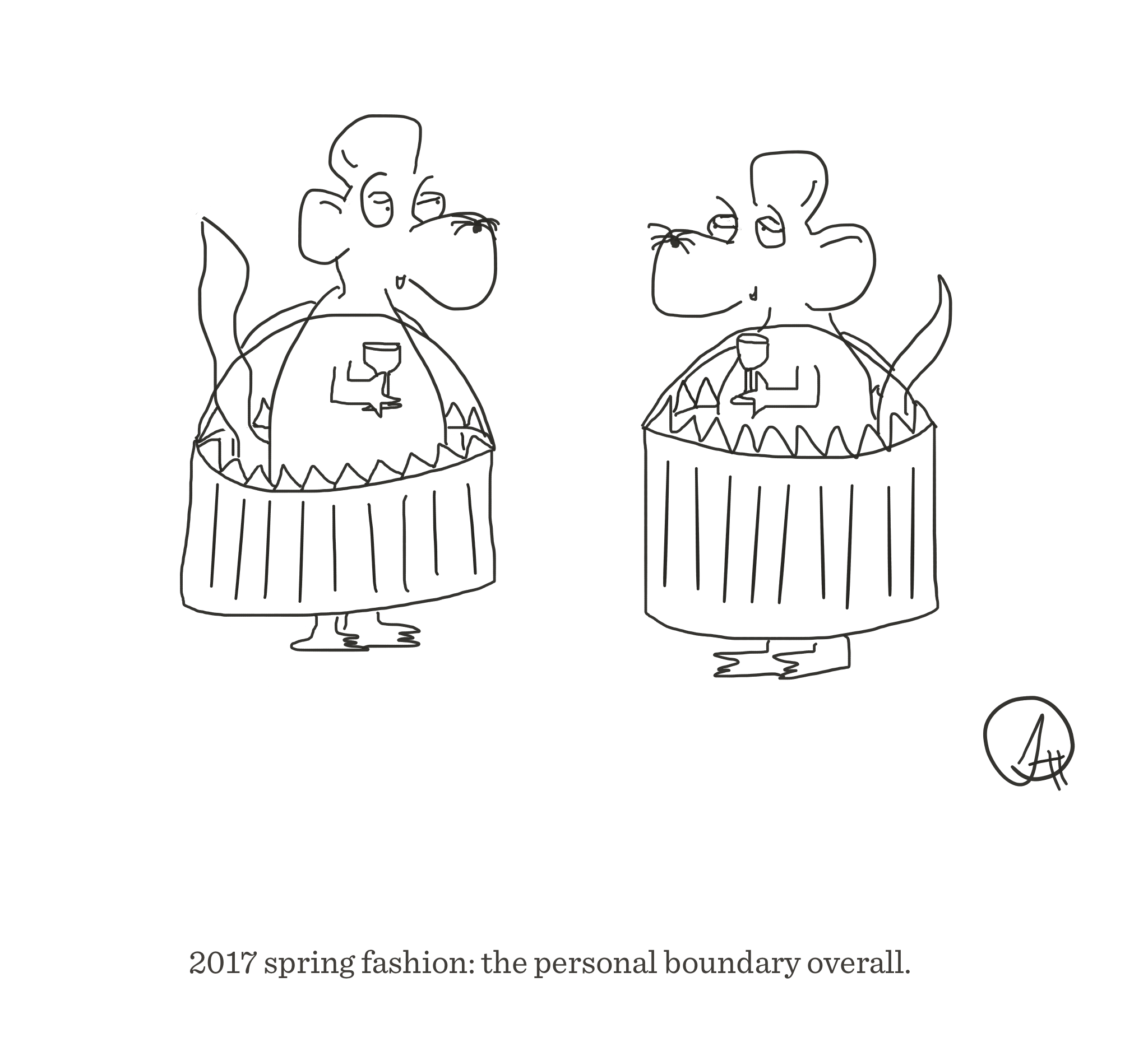 Personal boundary overalls, The Happy Rat cartoon