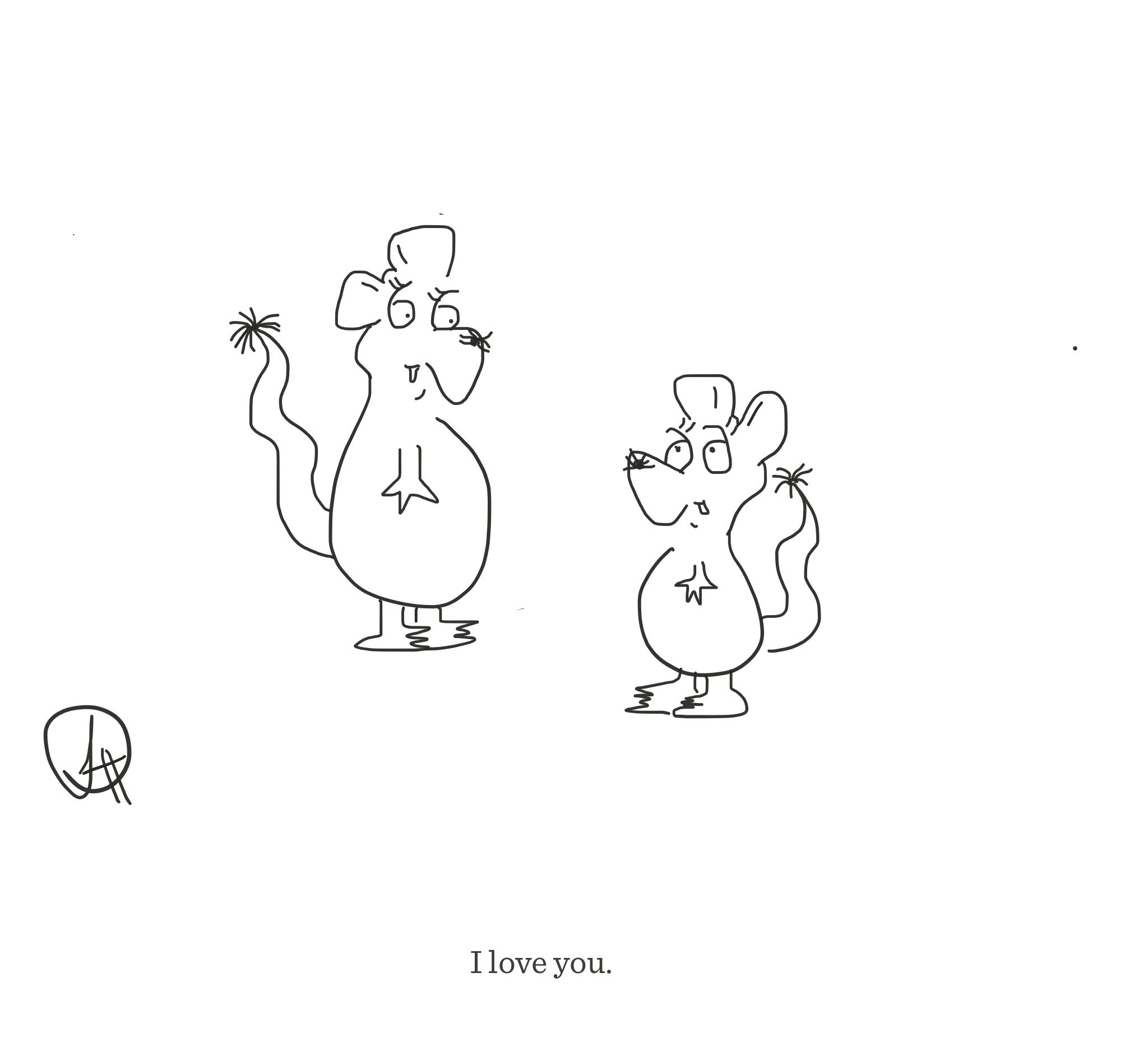 I love you, The Happy Rat cartoon