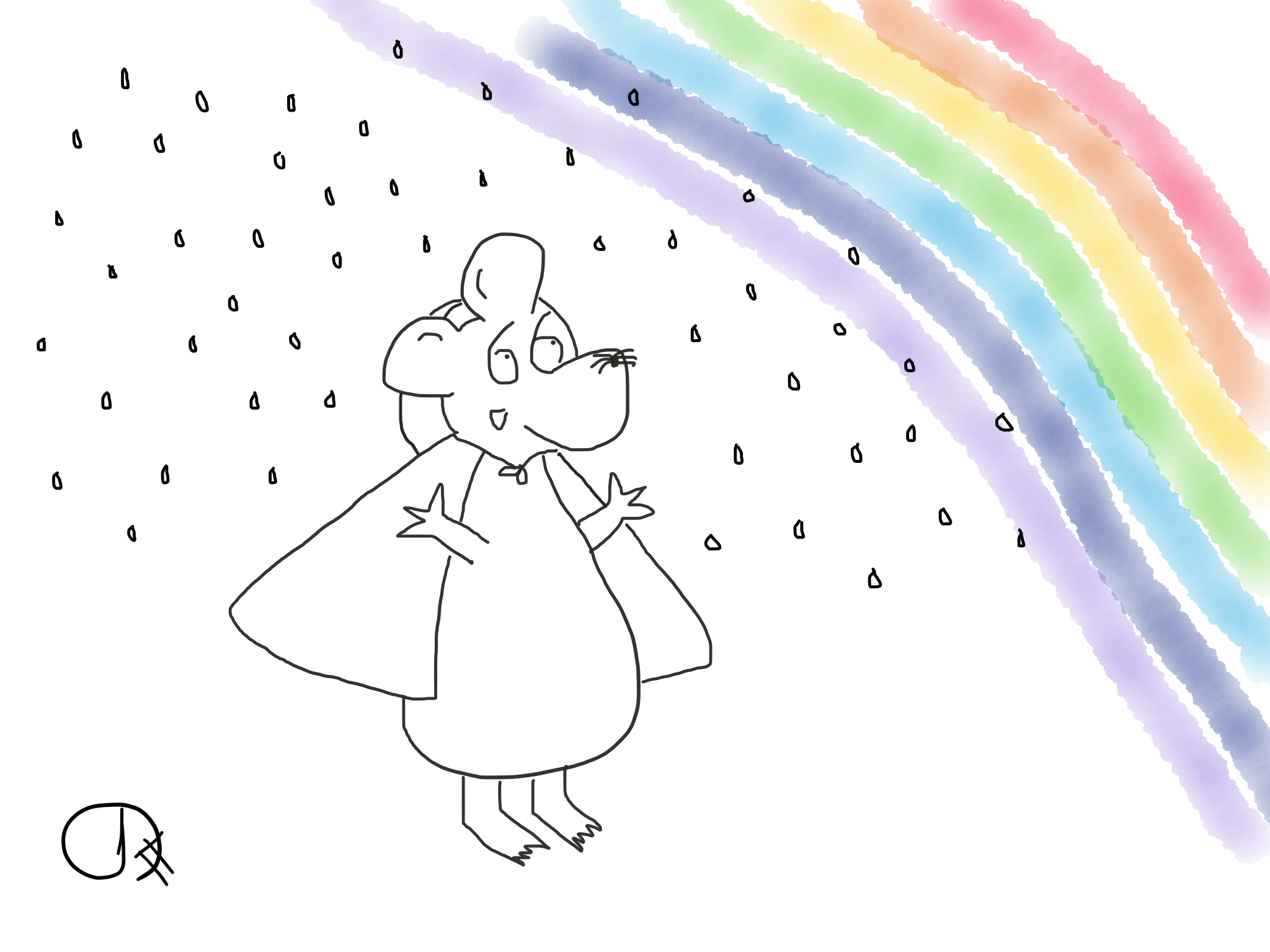 Rainbows and ponchos, The Happy Rat cartoon