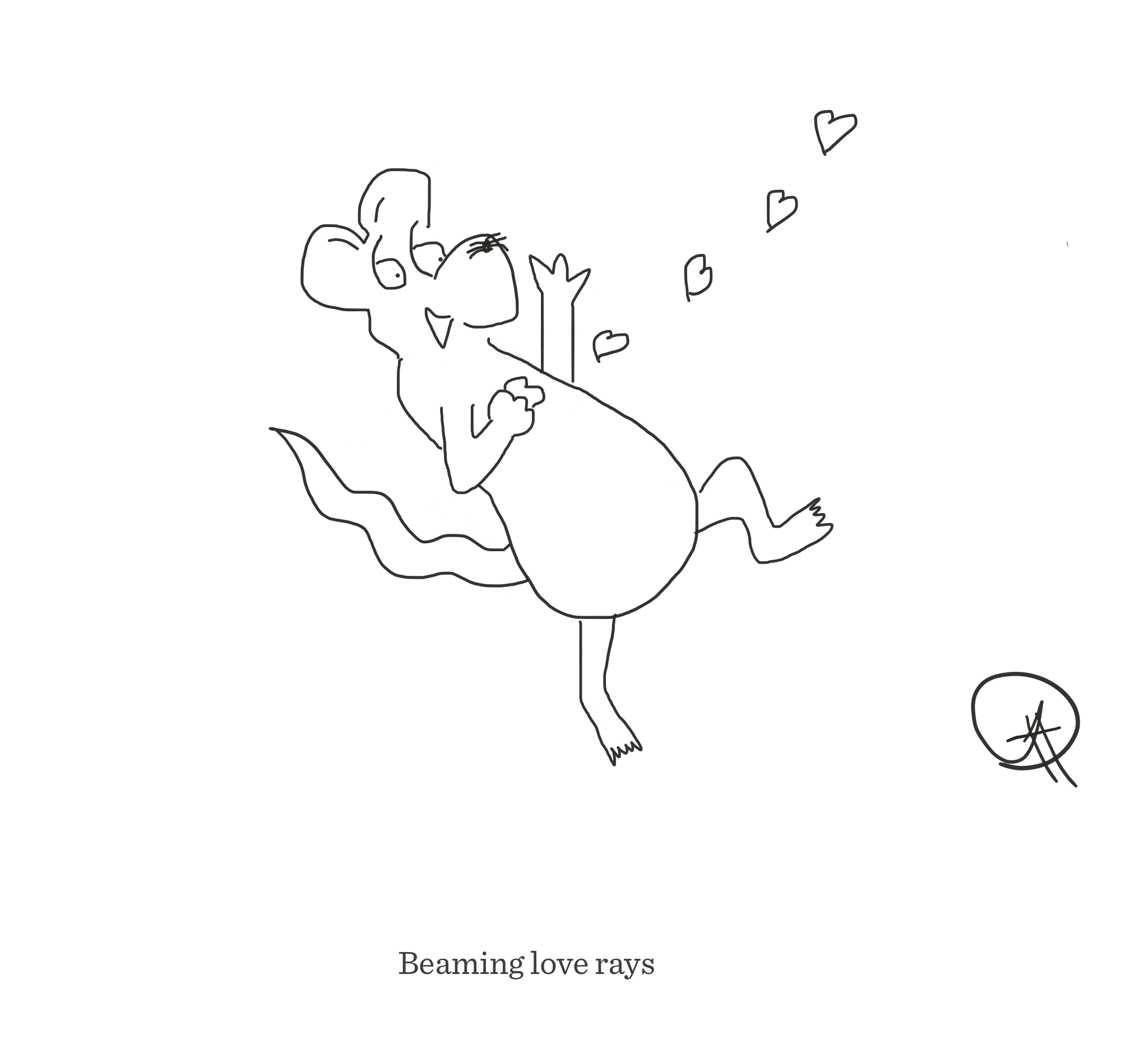 Beaming love rays, The Happy Rat cartoon