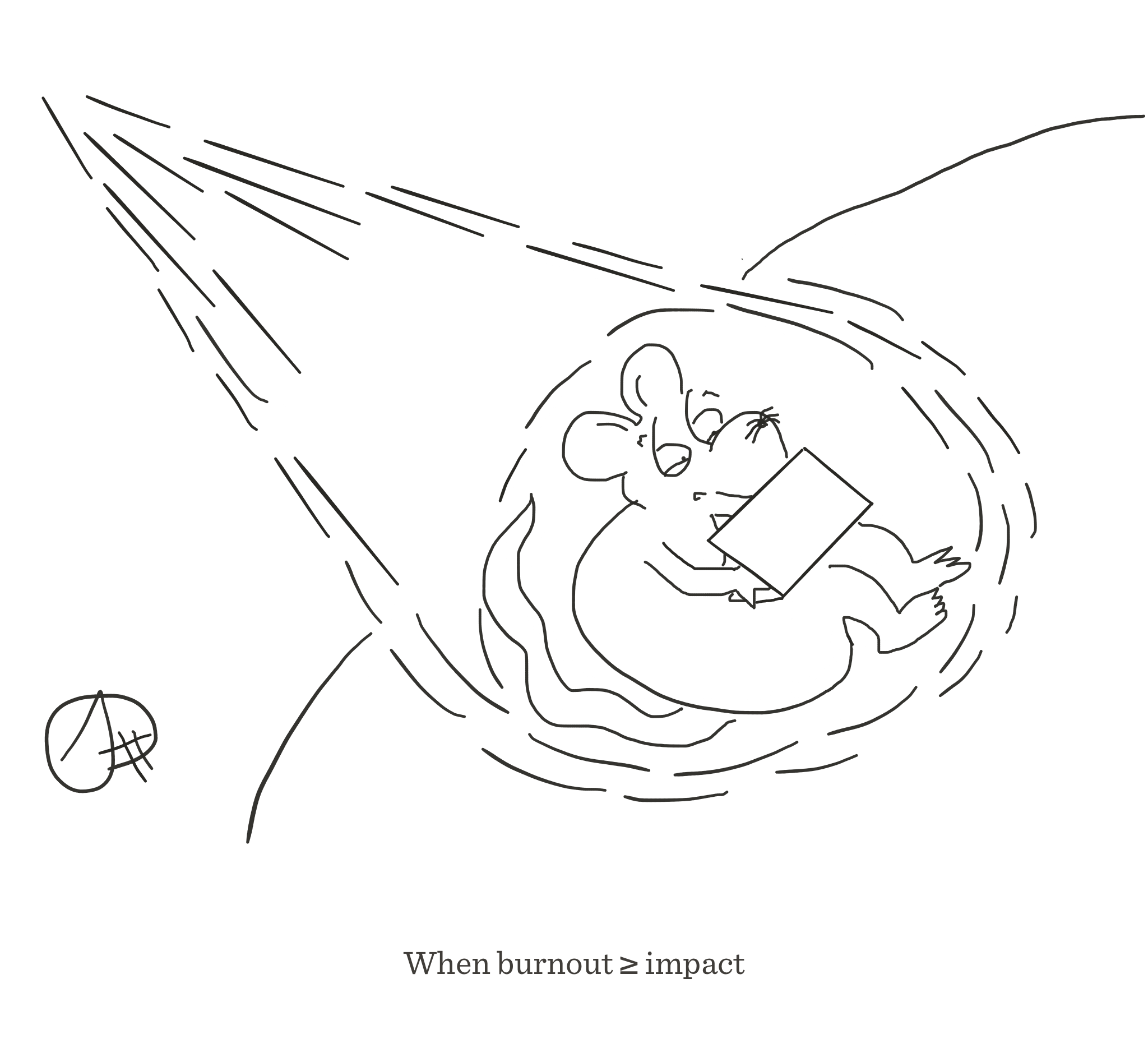 When burnout ≥ impact, The Happy Rat cartoon