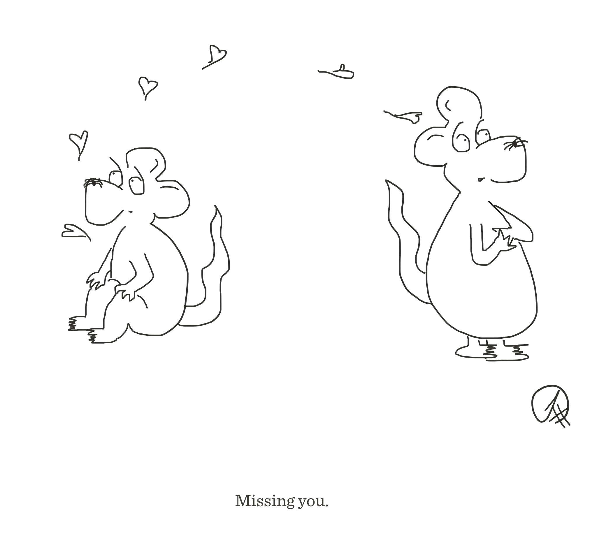 Missing you, The Happy Rat cartoon
