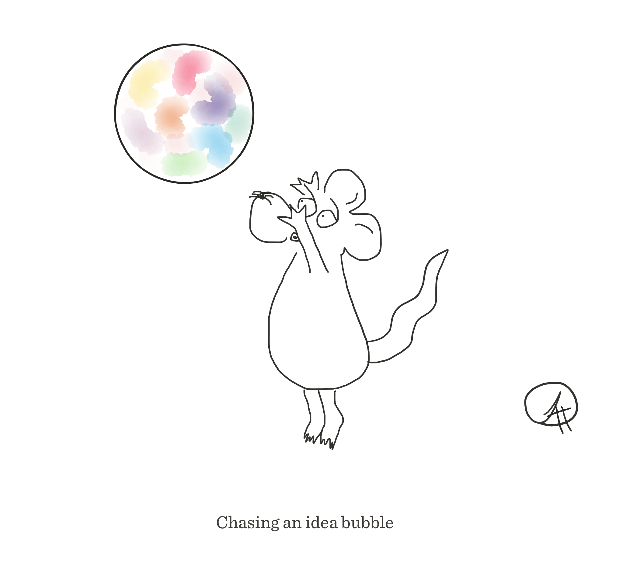 Chasing an idea bubble, The Happy Rat cartoon