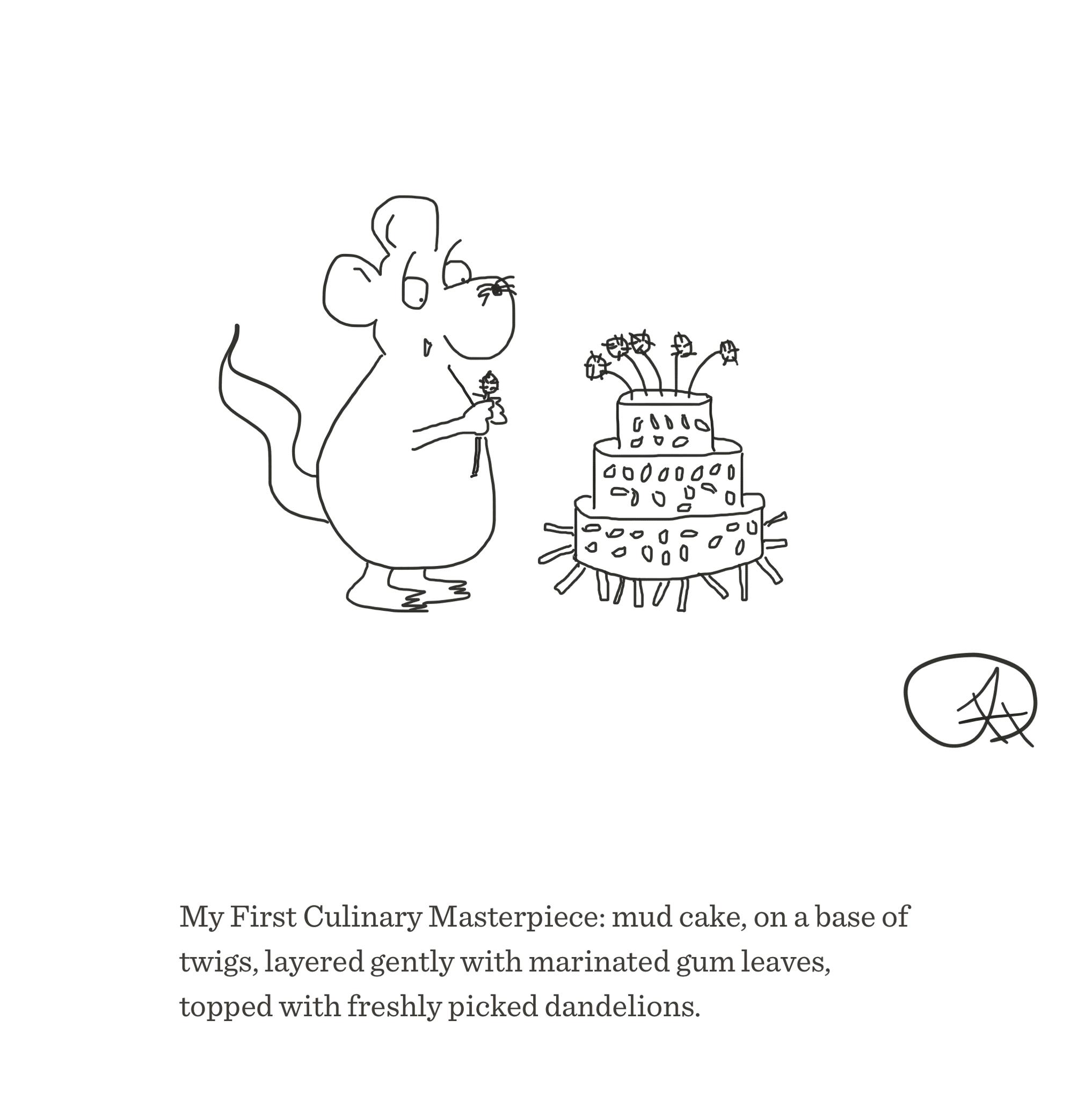 Mud cake masterpiece, The Happy Rat cartoon