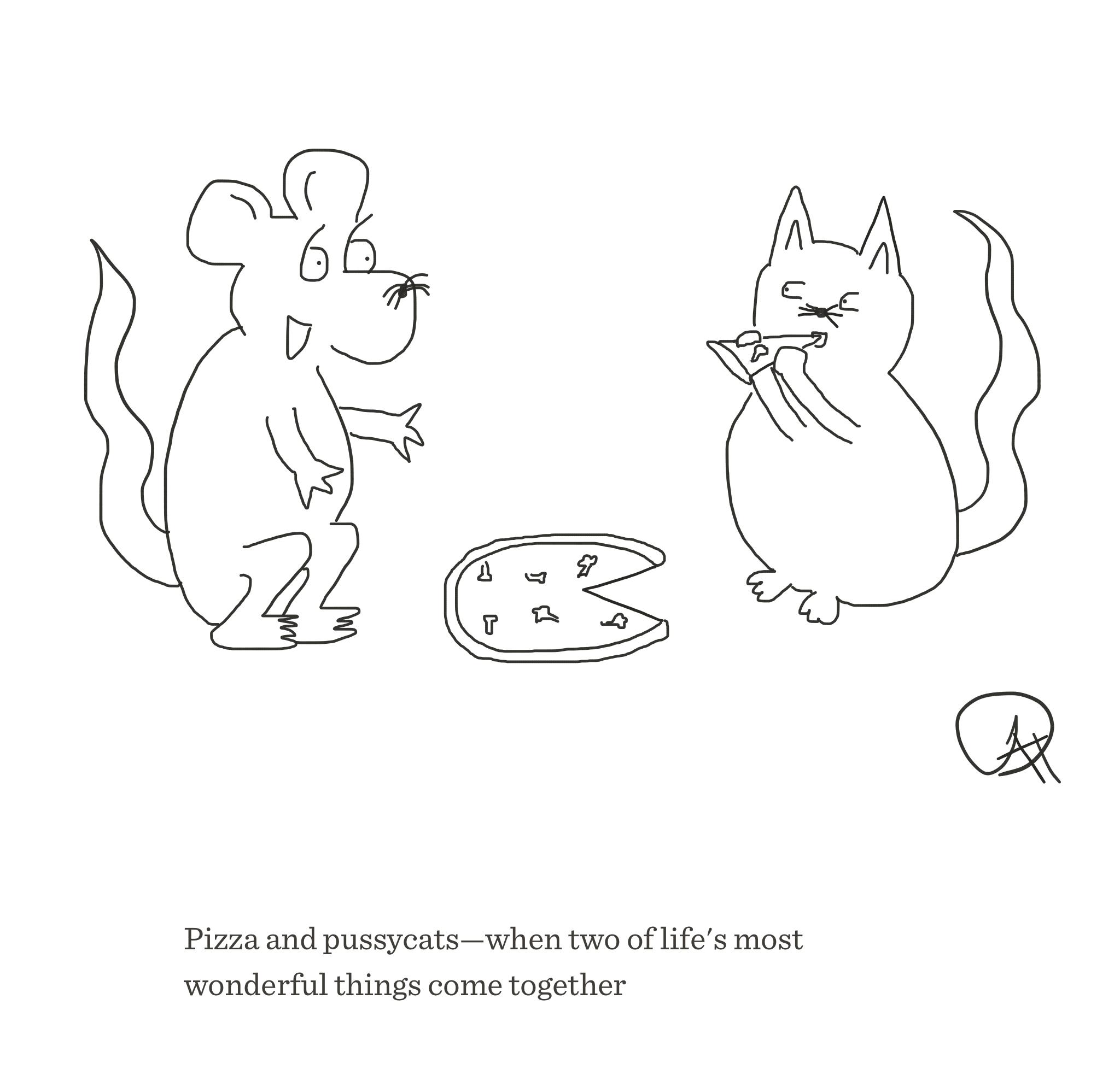 Pizza and pussycats, The Happy Rat cartoon