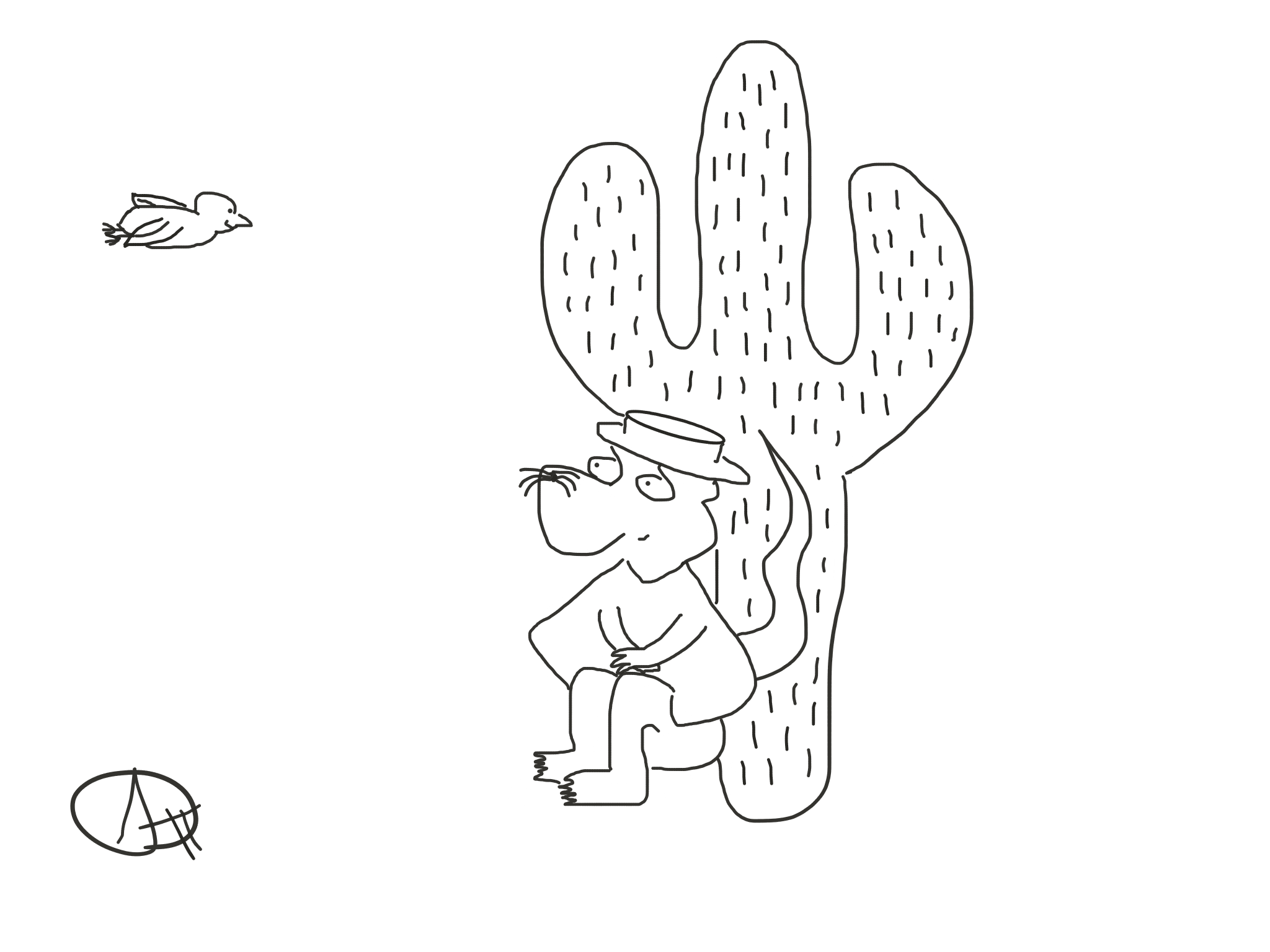 Resting cactus and friendly bird, The Happy Rat cartoon