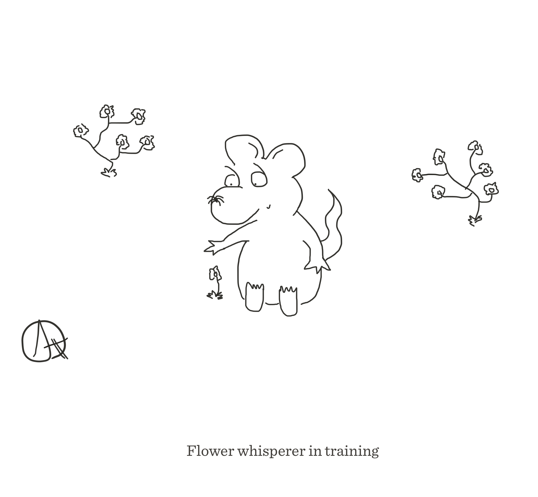 Flower whisperer in training, The Happy Rat cartoon