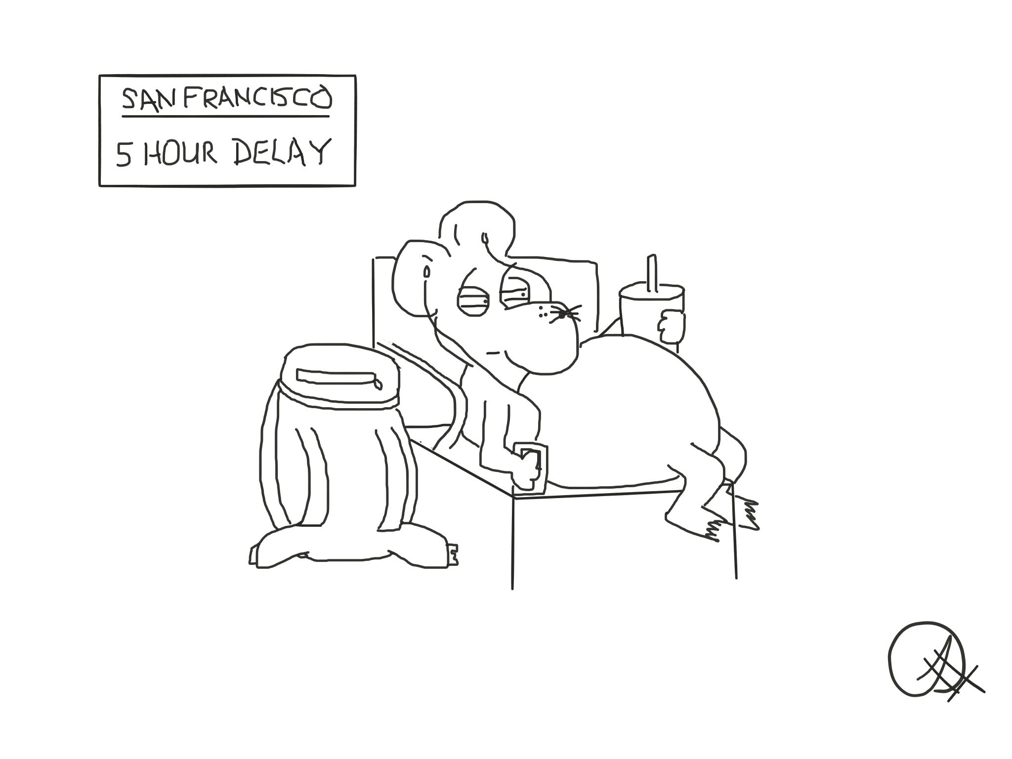 Five hour delay, The Happy Rat, Sarah Hunt
